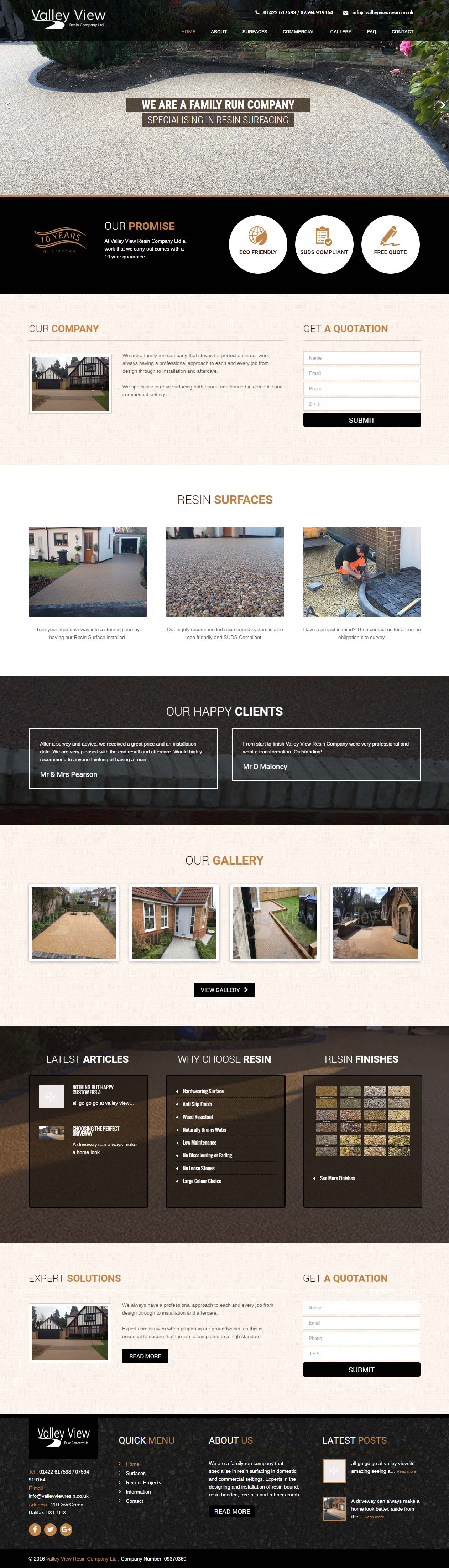 Valley View Resin Company Website